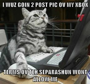 I WUZ GOIN 2 POST PIC OV MY XBOX  TERMS OV TEH SEPARASHUN WONT ALLOW ME