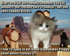 After receivin' his Foofany calendar, Tex Cat wonders: Dat Foofany sure is sumfin! I bet she likes cowboy kitties..  I fink I'll apply to dat Kamp Kuppykakes Preppy Skool where Foofany is..