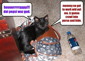 mommy no got to work wid out me. iz gonna crawl into purse and hide.
