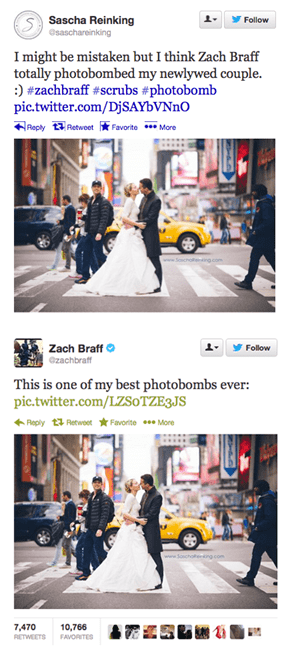 Couple Takes a Wedding Photo in Times Square, Zach Braff Just Happens to Walk Through the Shot