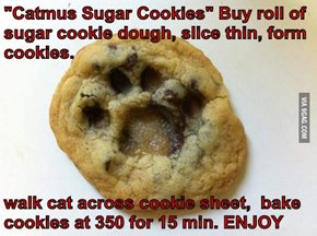 """Catmus Sugar Cookies"" Buy roll of sugar cookie dough, slice thin, form cookies.  walk cat across cookie sheet,  bake cookies at 350 for 15 min. ENJOY"