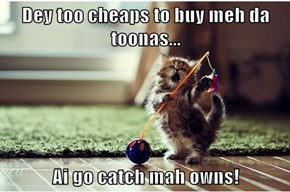 Dey too cheaps to buy meh da toonas...  Ai go catch mah owns!