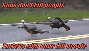 Guns don't kill people  Turkeys with guns kill people