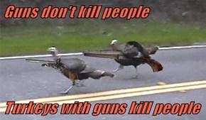 Guns don't kill people  Turkeys with guns kill people