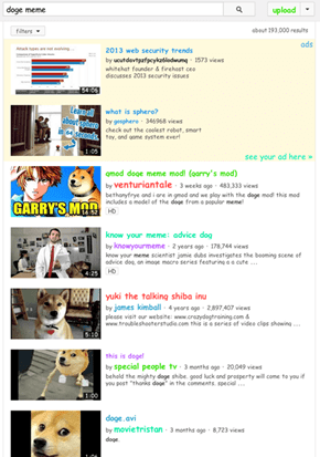 Look at YouTube's Doge Hack: Such Search, So Meme