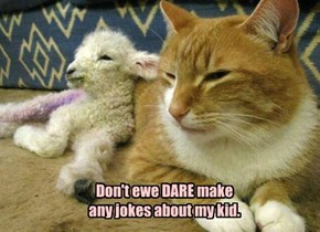 Don't ewe DARE make any jokes about my kid.