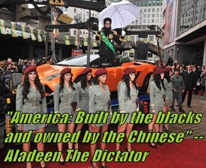 """America: Built by the blacks and owned by the Chinese"" --Aladeen The Dictator"