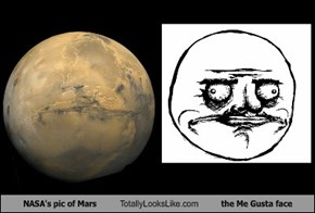 NASA's pic of Mars Totally Looks Like the Me Gusta face