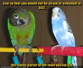Live so that you would not be afraid or ashamed to *SELL*  the family parrot to the town gossip, LoL