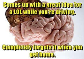 Comes up with a great idea for a LOL while you're driving.  Completely forgets it when you get home.
