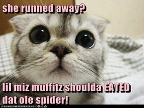 she runned away?        lil miz muffitz shoulda EATED dat ole spider!