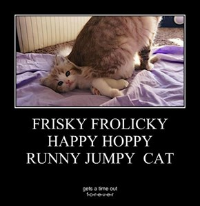 FRISKY FROLICKY HAPPY HOPPY RUNNY JUMPY  CAT