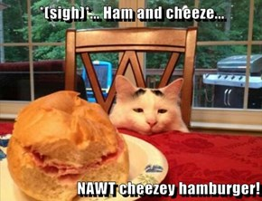 *(sigh)*... Ham and cheeze...  NAWT cheezey hamburger!
