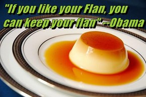 """If you like your Flan, you can keep your flan"" --Obama"