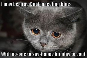 I may be gray-But I'm feeling blue-  With no-one to say-Happy bithday to you!