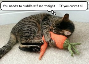 You needs to cuddle wif me tonight.... If you carrot all...