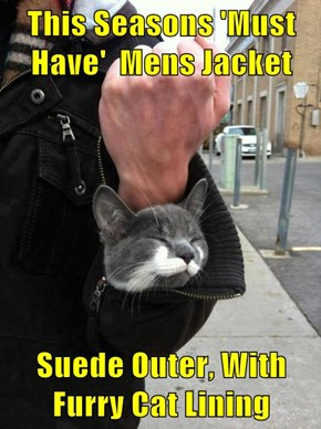 This Seasons 'Must Have'  Mens Jacket  Suede Outer, With Furry Cat Lining