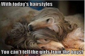 With today's hairstyles  You can't tell the girls from the boys!