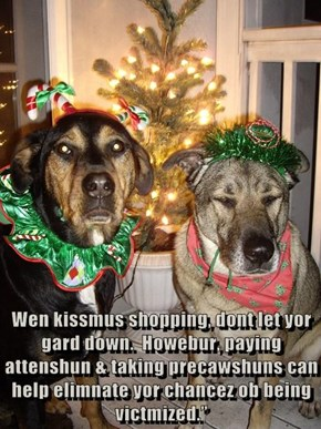 Wen kissmus shopping, dont let yor gard down.  Howebur, paying attenshun & taking precawshuns can help elimnate yor chancez ob being victmized.""