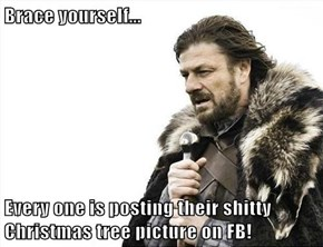Brace yourself...  Every one is posting their shitty Christmas tree picture on FB!