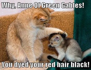 Why, Anne Of Green Gables!  You dyed your red hair black!