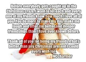 Before everybody gets caught up in the Christmas craze, I want to let each and every one of my friends know how much I love all of you. You do more to make my day, make me laugh and offer me better and deeper friendships than I have ever known before.   T