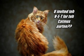 U invited teh V-E-T for teh Catmus partee??