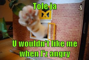 Tole ja  U wouldn't like me when I'z angry