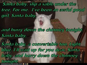 Santa baby, slip a sable under the tree, For me.  I've been an awful good girl, Santa baby,  and hurry down the chimney tonight. Santa baby, Santa baby, a convertable too, Light blue. I'll wait up for you dear, Santa baby, and hurry down the chimney tonig