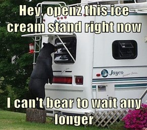 Hey, openz this ice cream stand right now  I can't bear to wait any longer