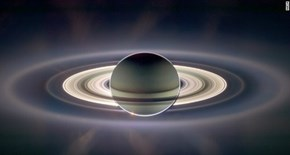 From NASA's Cassini mission to Saturn.  Earth is tiny blue dot mid-left...