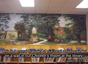 This is a mural that two of our local artists painted on a wall in our Children's Room at the library.