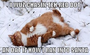 I WUZ CHASIN TEH RED DOT  AN DAT IZ HOW I RAN INTO SANTA