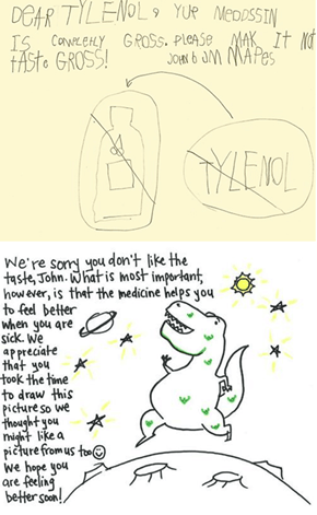Kid Writes to Tylenol, Tylenol Writes Back