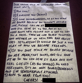 This Letter is the Nicest Way to Respond to a Thief