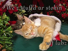 We'z stuffd ur stokin  wif lubz