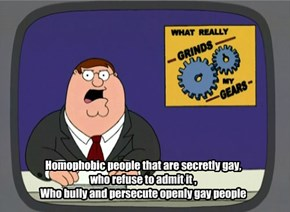 Homophobic people that are secretly gay, who refuse to admit it , Who bully and persecute openly gay people