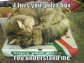 I luvs you, pizza box  You understand me.