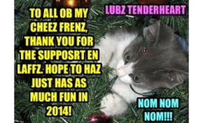 TO ALL OB MY CHEEZ FRENZ,  THANK YOU FOR THE SUPPOSRT EN LAFFZ. HOPE TO HAZ JUST HAS AS MUCH FUN IN 2014!
