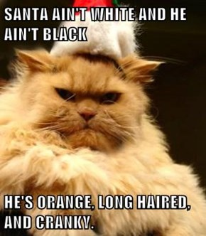 SANTA AIN'T WHITE AND HE AIN'T BLACK  HE'S ORANGE, LONG HAIRED, AND CRANKY.