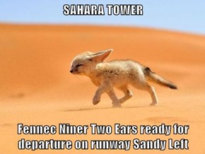 SAHARA TOWER  Fennec Niner Two Ears ready for departure on runway Sandy Left