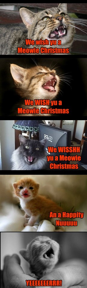 Kittehs wishing ebrybuddy a Meowie Christmas!