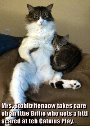 Mrs. Stobitritenaow takes care ob an Ittie Bittie who gots a littl scared at teh Catmus Play..