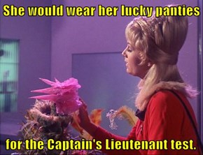 She would wear her lucky panties   for the Captain's Lieutenant test.