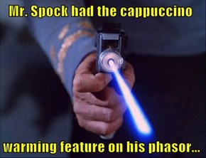 Mr. Spock had the cappuccino   warming feature on his phasor...