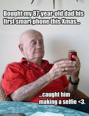 Bought my 87-year-old dad his first smart phone this Xmas...