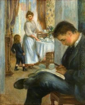 Desayuno en Berneval 1898 por Renoir