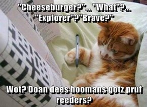 """Cheeseburger?""... ""What""?... ""Explorer""?""Brave?""  Wot? Doan dees hoomans gotz pruf reeders?"