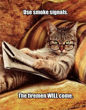 Use smoke signals.             The firemen WILL come.