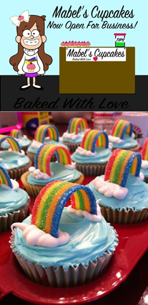 Mabel Inspired Rainbow Cupcakes
